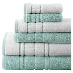 Bring an indulgent touch to your morning routine with this set of cotton towels, featuring textural details and a soft jade hue.  Pr...