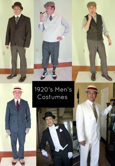 A variety of looks for your next Downton Abbey themed event.<br> Easy to make men's costume ideas. How to use modern clothing to create Great Gatsby, Downton Abbey & Boardwalk Empire worthy looks. Costume Gatsby, 1920s Mens Costume, Vintage Hipster, Vintage Prom, Vintage Hats, Casino Outfit, Great Gatsby Party Outfit, Mens Gatsby Outfit, Gatsby Outfits For Men
