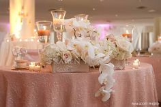 Pink square and rectangle vase wedding arrangements