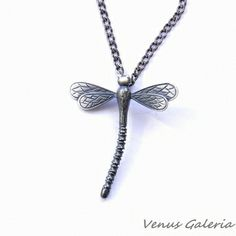 Silver pendant - Dragonfly in gray