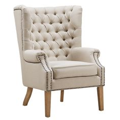 Shop TOV Furniture Abe Beige Linen Wing Chair with great price, The Classy Home Furniture has the best selection of Accent Chairs to choose from Accent Chairs For Living Room, Living Room Furniture, Modern Furniture, Sofas, Winged Armchair, Wing Chair, Home Living, Living Rooms, Modern Living