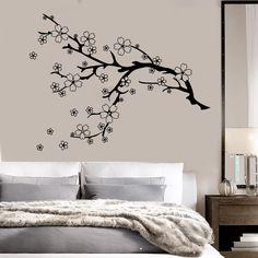 Vinyl Wall Decal Beautiful Tree Branch Nature Flowers Sakura Stickers Unique Gift (784ig)
