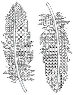motifs de plumes Blackwork 17 x 23 cm (14 count) 2 couleurs différentes www.borduurbloempje.be #embroideryandstitching #embroidery #and #stitching