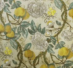 A William Morris inspired floral print in modern yellow, gold, and sea green colours. This medium weight fabric works great for curtains, blinds, cushions and occasional upholstery. Chair Fabric, Curtain Fabric, Gorgeous Fabrics, William Morris, Accent Colors, Gold Accents, Vintage World Maps, Upholstery, Floral Prints