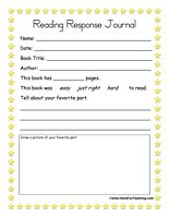 Reading Response Journal: Reading response activity. Students fill out the form and answer the reading response questions and also draw a picture of their favorite part of the story. Will be good for remedial students.