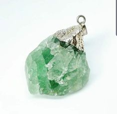 Vintage Jade Crystal Pendant with Silver Foil Covering on Sterl8ng Silver Chain