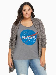 """You don't have to be a rocket scientist to figure out that this tee is the cutest ever. The grey knit is totally down-to-earth, while the slightly distressed """"NASA"""" graphic is out of this world cute.<div><br></div><div><b>Model is 5'10"""", size 1<br></b><div><ul><li style=""""list-style-position: inside !important; list-style-type: disc !important"""">Size 1 measures 28 3/4&quot..."""