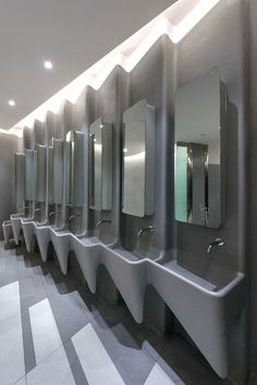 Washroom Design, Toilet Design, Bathroom Toilets, Bathrooms, Commercial Toilet, Wall Mount Faucet, Changing Room, Office Lighting, Bathroom Interior