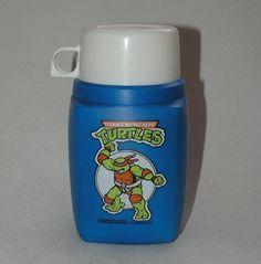 Vintage Teenage Mutant Hero Turtles 1980s Thermos Roughneck Flask, blue