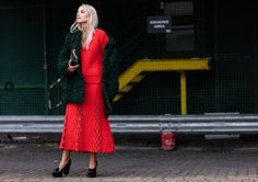 Red Outfit - Charlotte Groeneveld - Street Style - Womenswear - Photo by Sandra Semburg for VogueParis
