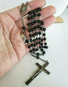 "Vintage Catamore Sterling Black Round Bead Rosary 20"" Religious Jewelry, Round Beads, Pendants, Sterling Silver, Shop, Ebay, Vintage, Black, Black People"