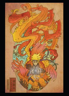 Naruto Woodblock postcard print by Sempaiko on Etsy