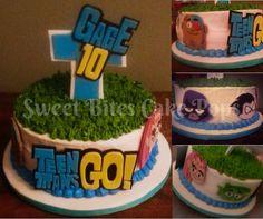 Teen Titans cake featuring Beast Boy, Raven, Robin, Cyborg and Starfire. Go Teen Titans Go!