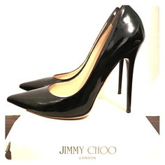 Authentic Jimmy Choo pumps Patent leather black Anouk Jimmy Choo Pumps. In really good condition. They are a size 40. Jimmy Choo runs small. I'm regularly an 8.5. So it fits for a regular 8.5 Jimmy Choo Shoes