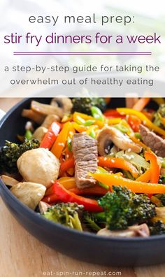 Easy meal prep: Stir fry dinners for a week | The process I use to take the overwhelm out of healthy eating and enjoy delicious meals all week long | Eat Spin Run Repeat | #mealprep #glutenfree #eatclean