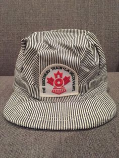 Vintage The Discovery Train Striped Conductor Hat Canadian History Canada  70 s  84d28a167661