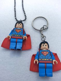 BOGO Promo Until March 15. Buy 1 Lego Necklace SUPERMAN Justice League Inspired Get 1 Keychain FREE Superhero Party Favors Toys on Etsy, $12.00