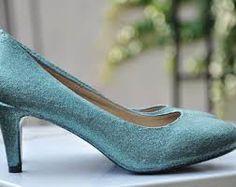 Resultado de imagem para low heel baby blue shoes