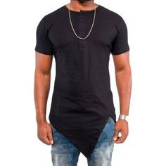Fashion-Mens-Histreet-T-shirt-Hip-hop-Irregular-Cut-Extended-Tee-Tops