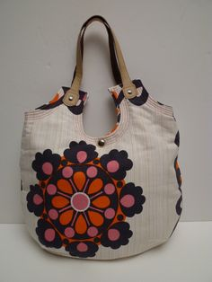 Handmade Purse From Vintage Fabric Daisy Chain Dollybag Large