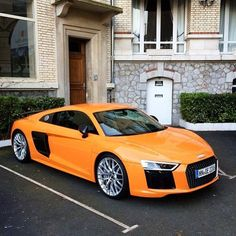 Audi R8 ... in orange, so obviously I love the colour. I have had numerous Audis, and currently have an RS5 Coupe, but for some reason I cant go overboard about the R8. Have driven a number of them, and fail to get the same thrill which I do from a Porsche, for instance