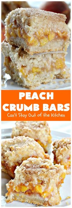 Peach Crumb Bars Cant Stay Out of the Kitchen these fabulous bars are some of the best with Ive ever eaten The topping with sugar just melts in your mouth We loved thes. Great Desserts, Köstliche Desserts, Delicious Desserts, Dessert Recipes, Bar Recipes, Amish Recipes, Dessert Dishes, Dishes Recipes, Vegan Recipes