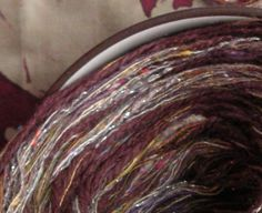 Yarn: plum cotton worsted 100 yards Arabian Nights, dark purple brown tan gold sparkly knitting yarn yds, Life's an Expedition, dj runnels