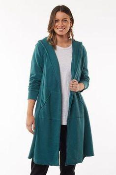 Hooded Cardigan, Cotton Fleece, Everyday Outfits, Casual Looks, Hoods, Autumn Fashion, Stylish, Tees, Kangaroo