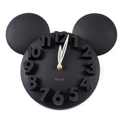 onegood Modern Design Mickey Mouse Big Digit Wall Clock Home Decor Decoration (black) Cute design, reminding you of the classic cartoon Super big and extruded digits Great addition to your home Size: x / 34 x LOCOMOLIFE Cozinha Do Mickey Mouse, Mickey Mouse Clock, Mickey Mouse House, Minnie Mouse, Mickey Mouse Bathroom, Mickey Mouse Kitchen, Disney Kitchen, Disney Dorm, Disney Mickey
