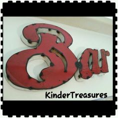 "@eBay NOW!  LARGE RED METAL ""BAR"" SIGN Distressed ""Welded"" Style Home Decor MAN CAVE *NICE*"