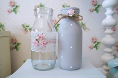 1 of 9: Vintage Shabby Chic Set of 2 Decorated Glass Milk Bottles Grey Rose Lace Dot Bow
