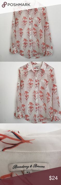 Madewell Broadway & Brome Sheer Printed Button Sheer Button Down shirt from Broadway & Brome, Madewell. Excellent used condition. No flaws. 100% polyester. Madewell Tops Button Down Shirts
