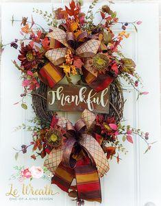 Thankful Fall Floral Door Wreath Autumn Home Decor Arrangement Thanksgiving NEW Autumn Wreaths For Front Door, Holiday Wreaths, Mesh Wreaths, Thanksgiving Wreaths, Thanksgiving 2020, Wreath Crafts, Wreath Ideas, Fall Door Decorations, Autumn Crafts