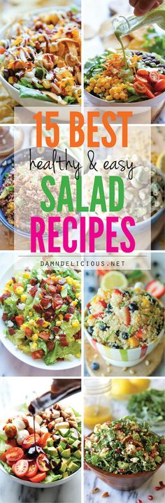 15 Best Healthy and Easy Salad Recipes - Easy, fresh, and healthy salad recipes that can be on your dinner table in no time! Great salads to prepare for healthy meals. Easy Salads, Healthy Salad Recipes, Healthy Snacks, Easy Meals, Dinner Salads Healthy, Salad Recipes Healthy Lunch, Vegetarian Salad, Breakfast Healthy, Summer Salads