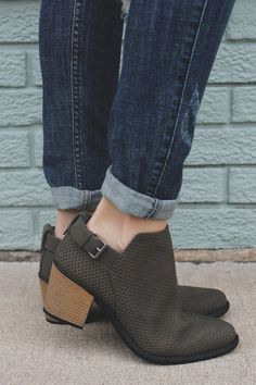 Olive Faux Suede Almond Toe Ankle Booties Tobin-45