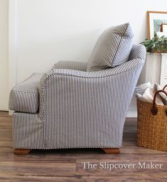 Custom slipcover in washed, cotton ticking gives a style boost to this worn & loved velveteen chair.