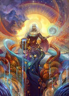 The Incredible Digital Artwork of Julie Dillon - Tuts+ Design & Illustration Article Art And Illustration, Fantasy Kunst, Fantasy Art, Art Visionnaire, Goddess Art, Star Goddess, Hecate Goddess, Moon Goddess, Ouvrages D'art