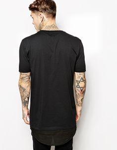 Enlarge ASOS Longline T-Shirt With Shirt Hem Detail Skater Fit