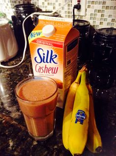 Cashew milk, cocoa powder, banana, and Greek yogurt smoothie.