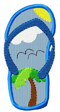 Beach flip flop 4 applique embroidery design by Tyme2stitch, $1.50