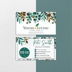 Watercolor Personalized Young Living Cards, Essential Oil Cards YL62– ToboArt