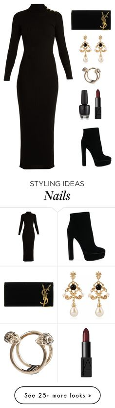 """Back to Black"" by vanittas on Polyvore featuring Balmain, Casadei, Yves Saint Laurent, WithChic and Alexander McQueen"