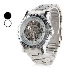Men's Alloy Analog Mechanical Wrist Watch with Hollow Engraving (Silver) – USD $ 18.99