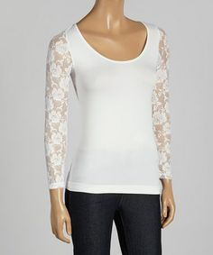 Loving this White Sheer Lace Sleeve Top on #zulily! #zulilyfinds