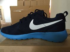 #esty June 2015 Roshes White Nike Logo Royal Blue Midnight Navy Nike Roshe Run Womens