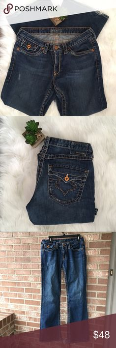 Big Star Jeans Size 29 R Awesome Big Star Jeans! Size 29 R Good used condition overall! Factory faded style with some light factory distressing. Bottoms were stepped on though and do show wear/dirty/fading/fraying. Big Star Jeans