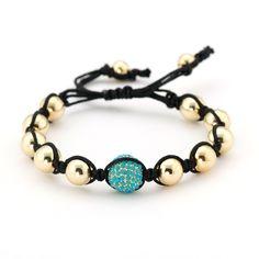 Shamballa Inspired Bead Bracelet Goldplated and Turquoise