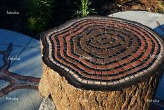 mosaic tree rings on a tree stump seat - Buy this stock photo and explore similar images at Adobe Stock Wood Mosaic, Mosaic Art, Mosaic Glass, Mosaic Tiles, Stained Glass, Glass Art, Mosaic Crafts, Mosaic Projects, Mosaic Furniture