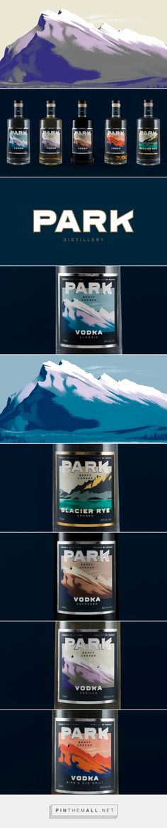 Park Distillery packaging by Glasfurd & Walker Design curated by Packaging Diva PD. Park is a restaurant, bar and distillery in Banff, Canada. Inspired by the outdoors and the love of the National Park itself.