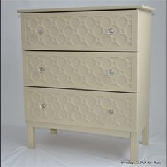 Show details for O'verlay Kit for IKEA TARVA (3 drawer) for larger night stands. we could stencil this
